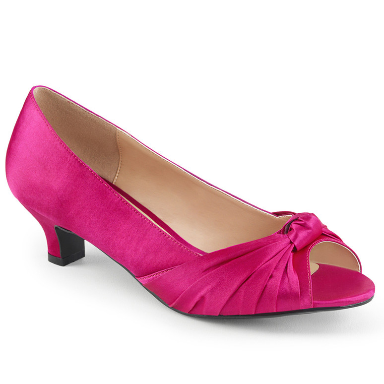 "Fab-422, 2"" Heel Peep Toe Pump hot pink satin"