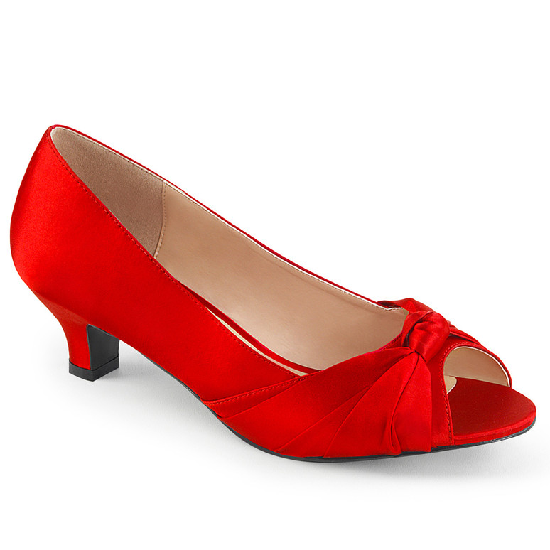 "Fab-422, 2"" Heel Peep Toe Pump Red satin"