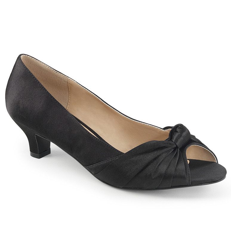 "Fab-422, 2"" Heel Peep Toe Pump black satin"