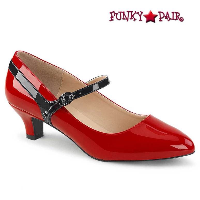 "2"" Red Kitten Heel Maryjane Pump Fab-425"
