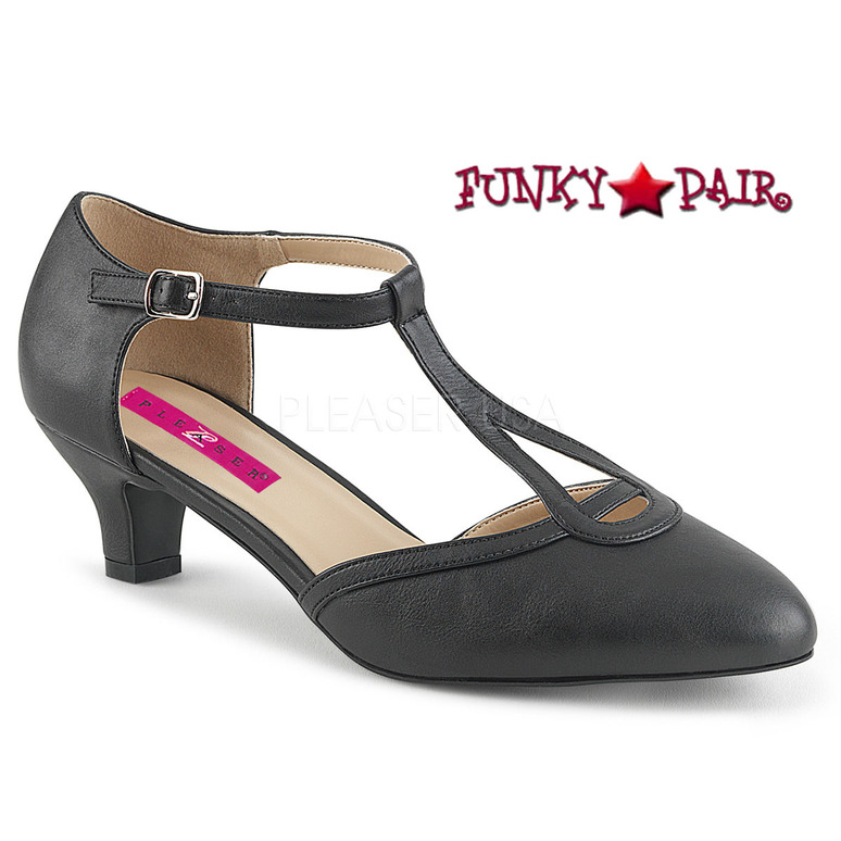 Pink Label | Fab-428 Sissy Heels T-strap Pump Size 9-16 black faux leather