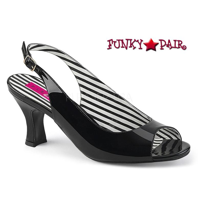 Black Kitten Heel  Peep Toe Slingback Pump Size 9-16 Pink Label | Jenna-02
