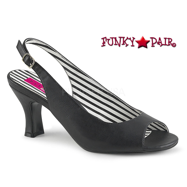 Jenna-02, Peep Toe Slingback Pump Size 9-16 black faux leather