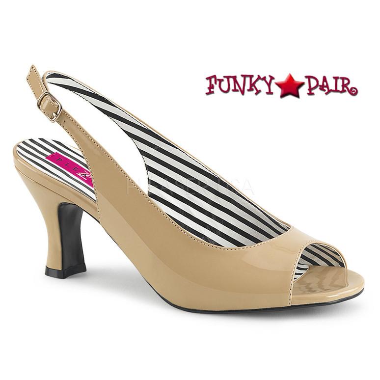 Jenna-02, Peep Toe Slingback Pump Size 9-16 cream Pink Label