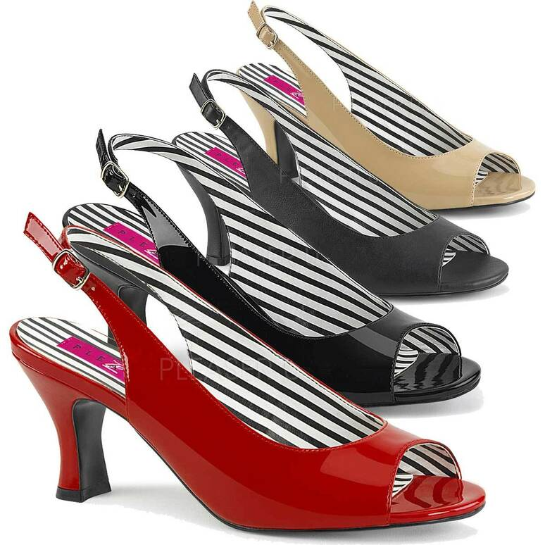Jenna-02, Kitten Heel  Peep Toe Slingback Pump Size 9-16 Pink Label |