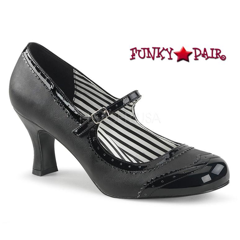 Pink Label | Jenna-06, Spectator Maryjane Pump Size 9-16 black