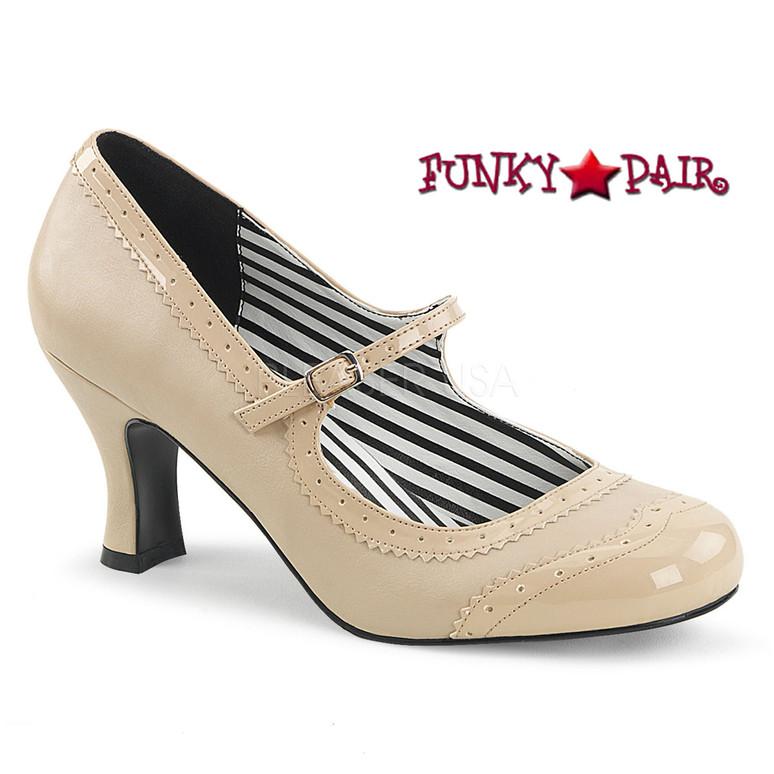Pink Label | Jenna-06, Spectator Maryjane Pump Size 9-16 cream