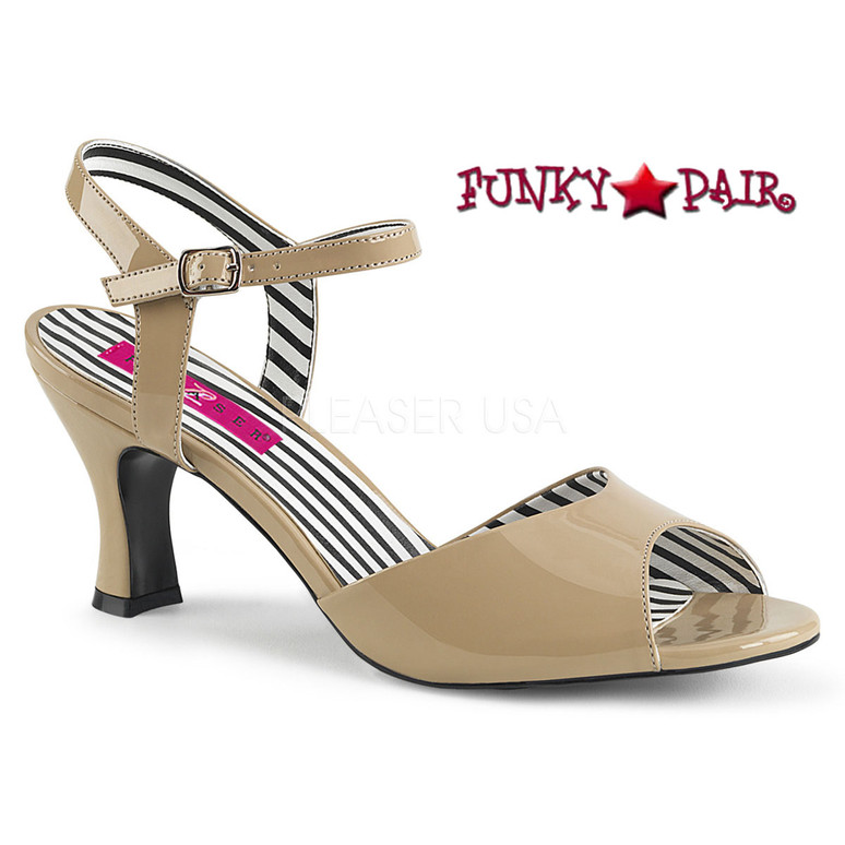 Cream 3 Inch Sandal Plus Size 9-16 Pink Label | Jenna-09