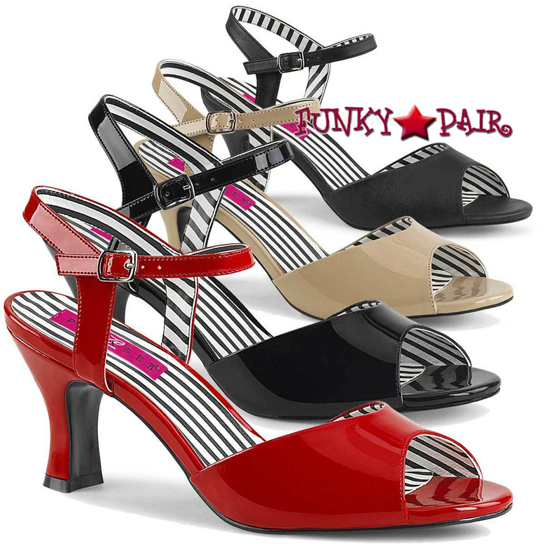 Pink Label | Jenna-09 Womens 3 Inch Sandal Plus Size 9-16 color available: black patent, red, cream, black faux leather