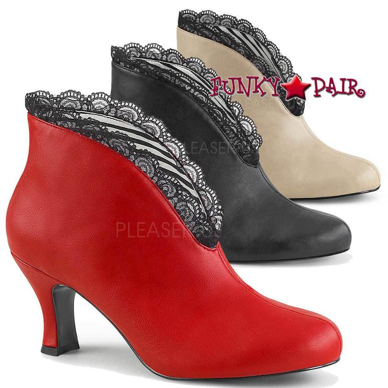 Jenna-105 Kitten Heel Ankle Boots by Pleaser Pink Label