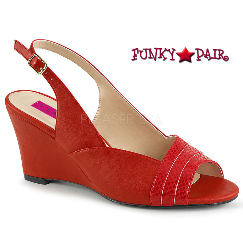 Red Women Wedge Sandal Plus Size 9-16 Pink Label | Kimberly-01SP