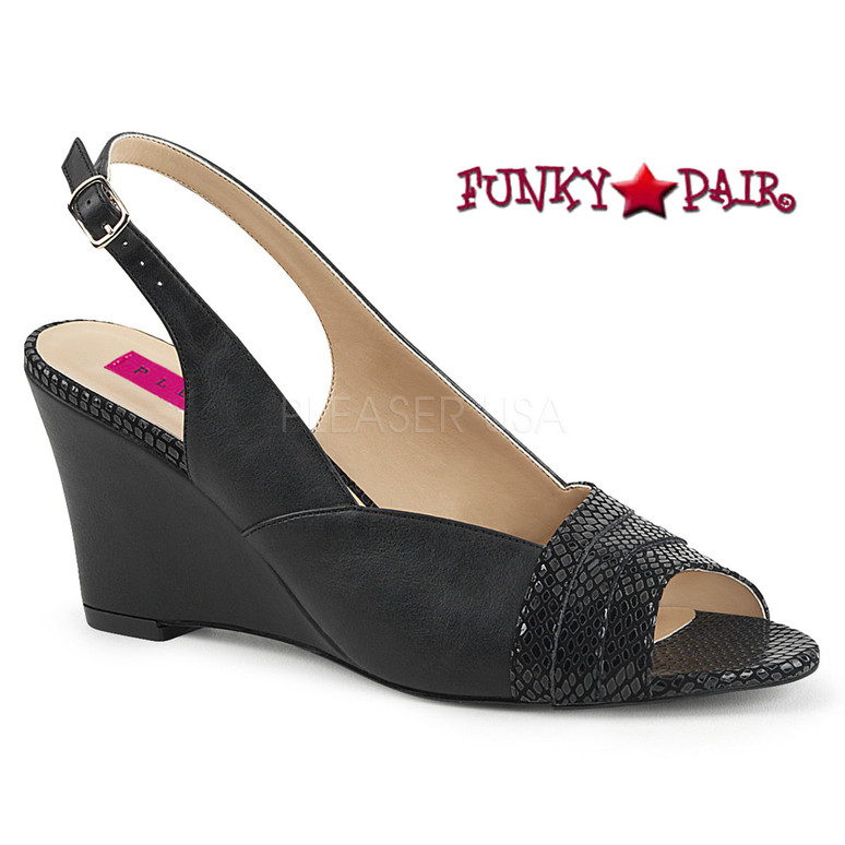 Black Women Wedge Sandal Plus Size 9-16 Pink Label | Kimberly-01SP