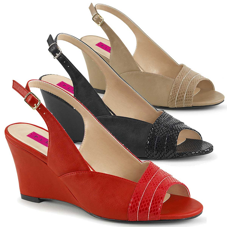 "Kimberly-01SP, 3"" Heel SlingBack Wedge Sandal Pink Label"
