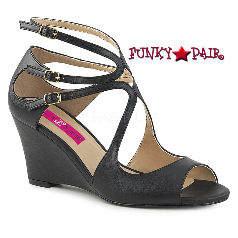 Pink Label Kimberly-04 color Black Faux Leather by Pleaser