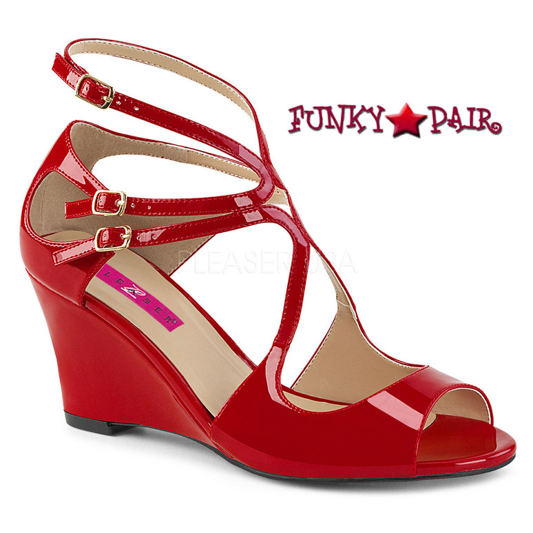 Pink Label Kimberly-04 color Red by Pleaser