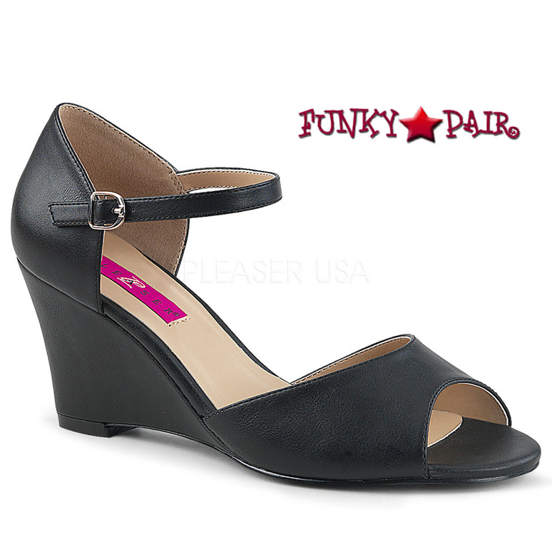 Pink Label | Kimberly-05, Wedge Ankle Strap Sandal Size 9-16 black