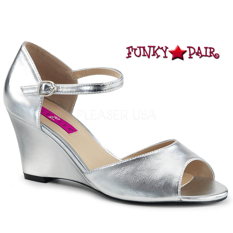 Pink Label | Kimberly-05, Wedge Ankle Strap Sandal Size 9-16 silver