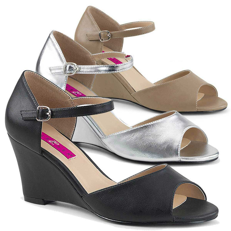 """3"""" Heel Wedge Ankle Strap Sandal Pink Label   Kimberly-05,"""