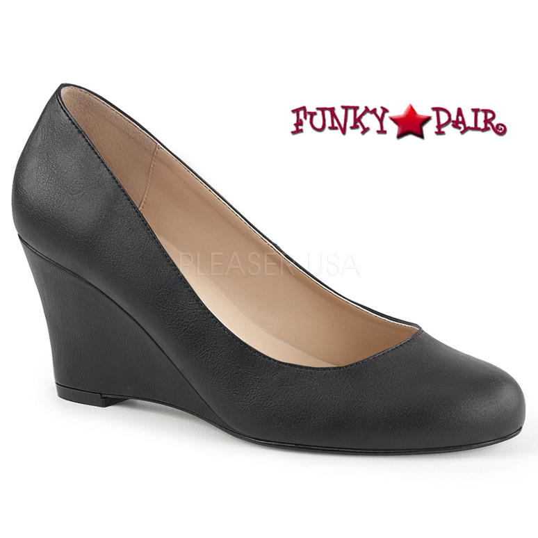 Women Wedge Pump Plus Size 9-16 black faux leather Pink Label   Kimberly-08