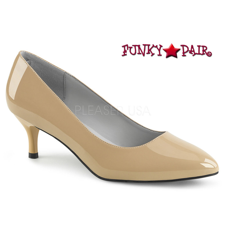 Pink Label | Kitten-01 Womens Low Heel Pump Plus Size 9-16 cream patent