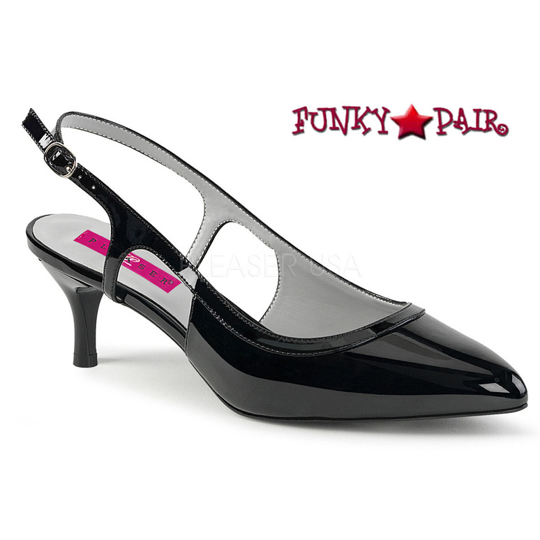 Pink Label | Kitten-02 Women Slingback Pump Plus Size 9-16 black patent