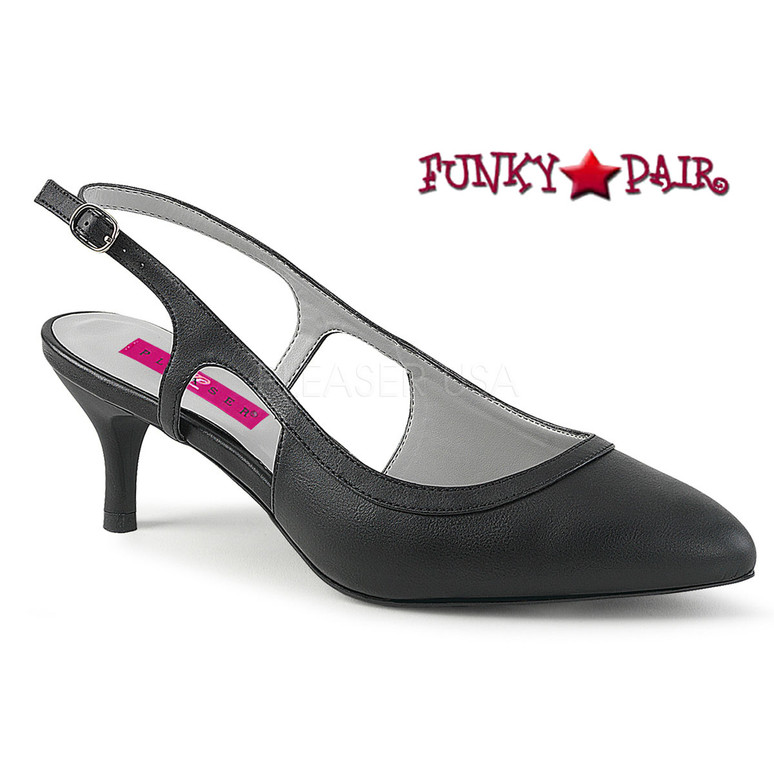 Pink Label | Kitten-02 Women Slingback Pump Plus Size 9-16 black faux leather