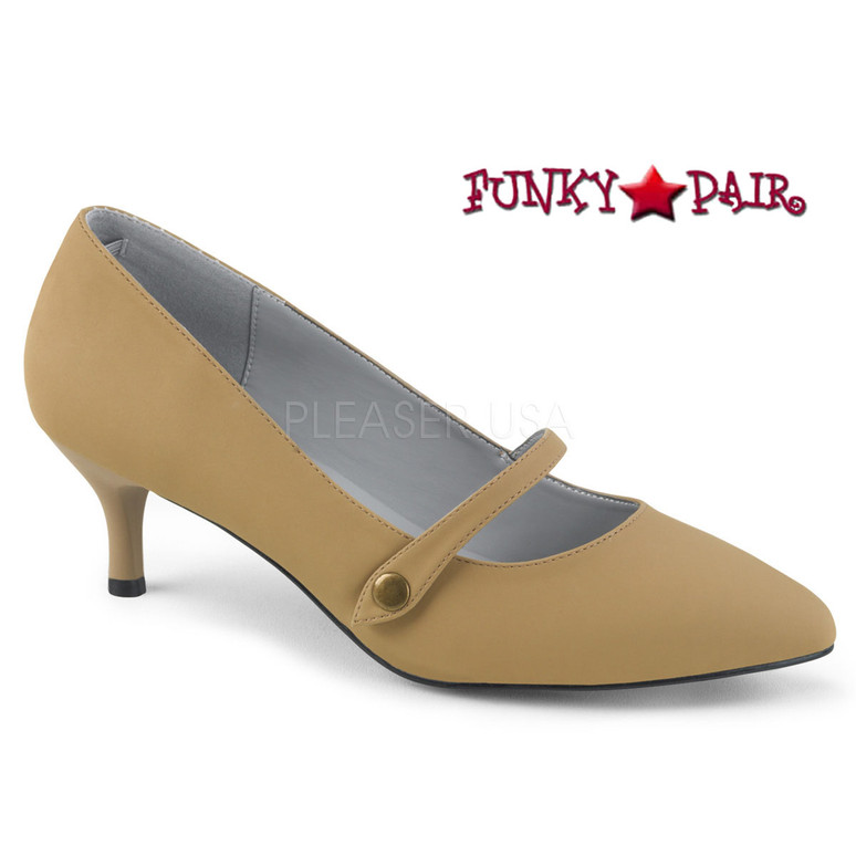 Pink Label | Kitten-03 Sissy High Heels Maryjane Pump Size 9-16  taupe