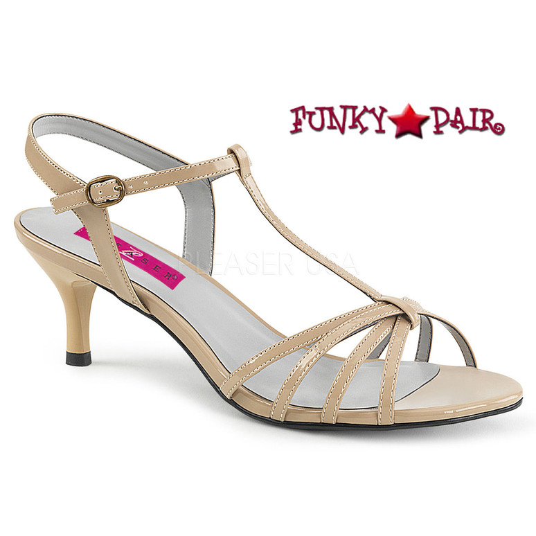 Pink Label | Kitten-06 Womens T-strap Sandal Large Size 9-16 cream