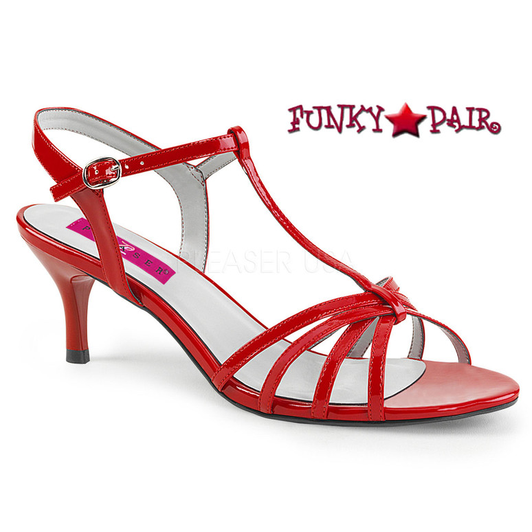 Pink Label | Kitten-06 Womens T-strap Sandal Large Size 9-16 red