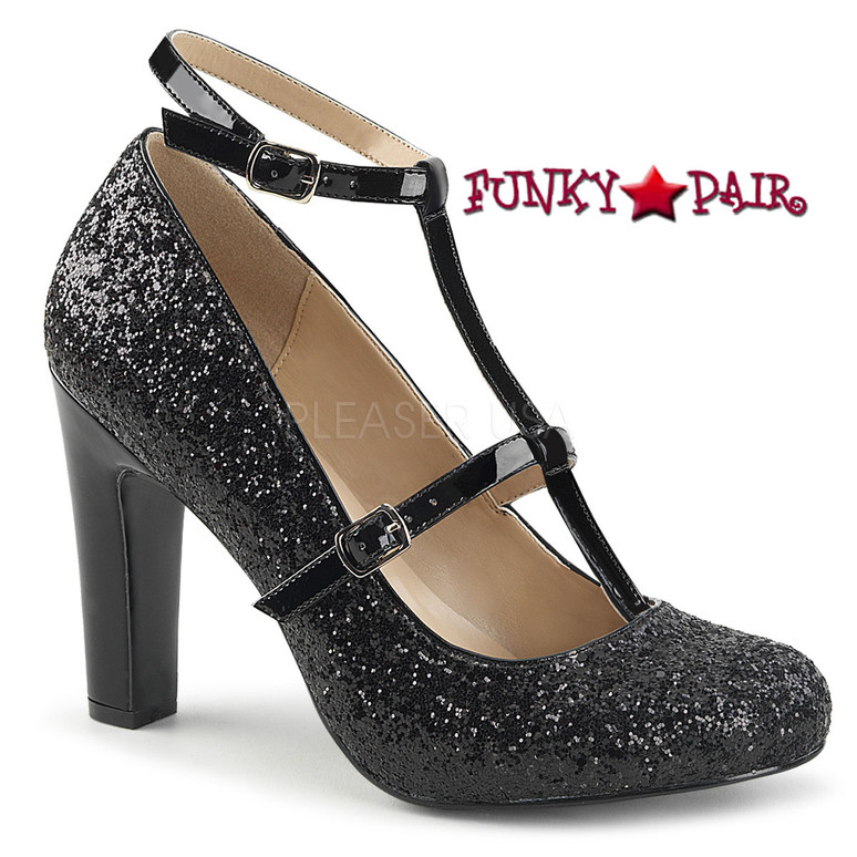 Pink Label Queen-01 color Black Glitter by Pleaser USA