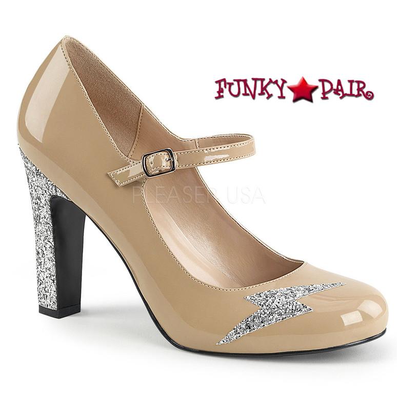 Pink Label | Queen-02 Drag Queen Heels Queen-02 Size 9-16 cream patent
