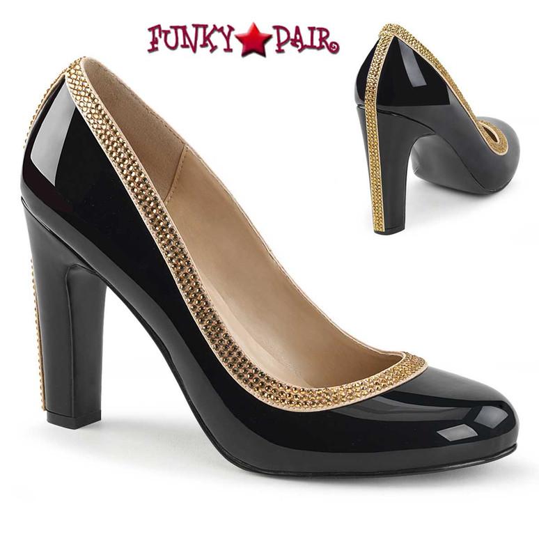Queen-04, Black  Chunky Heel Pump with Contrast Trim Drag Heels |