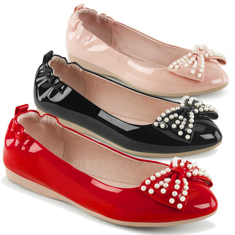 Ivy-09, Pointed Toe Flats with Pearl Bow