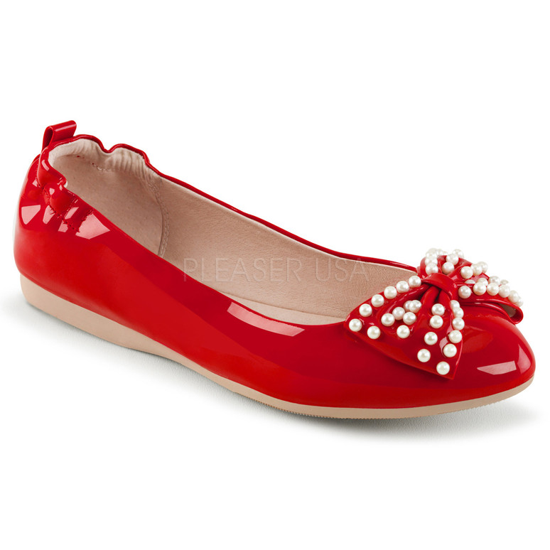 Pin-Up Couture | Ivy-09, Pointed Toe Flats with Pearl