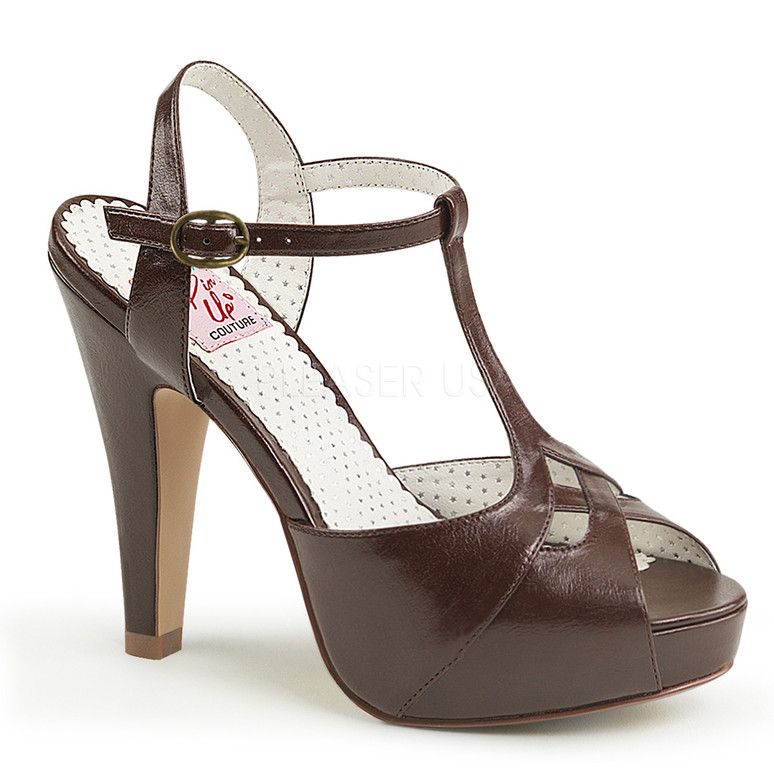 Brown Bettie-23, Peep Toe T-Strap Sandal Pin-Up Couture Shoes