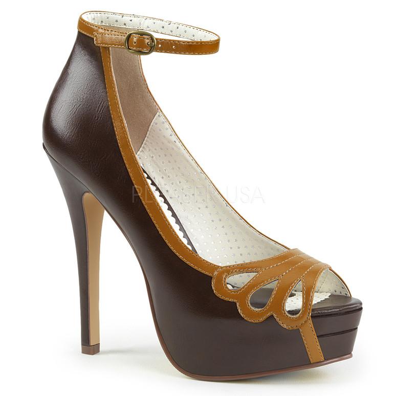 Bella-31, 5.25 Inch Peep Toe Ankle Strap Pump