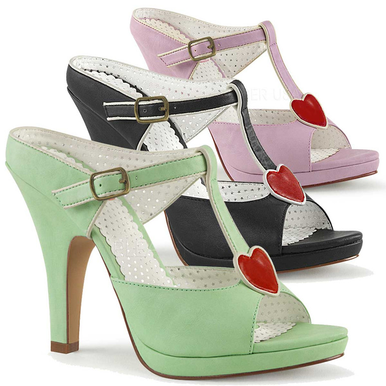 Siren-09, 4 Inch High Heel with T-Strap Heart Accent by Pin Up Couture
