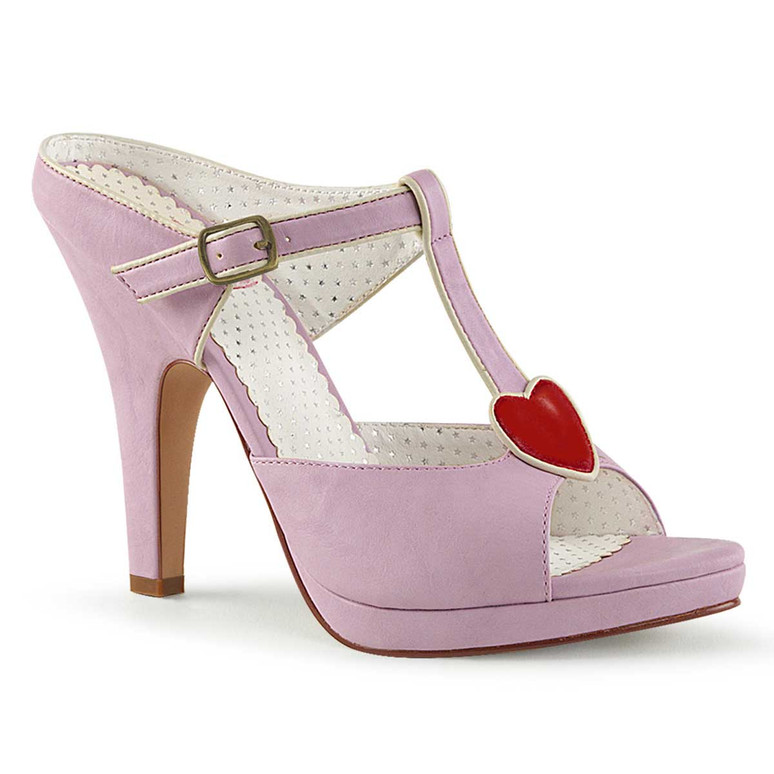 Siren-09, Lavender 4 Inch High Heel with T-Strap Heart Accent