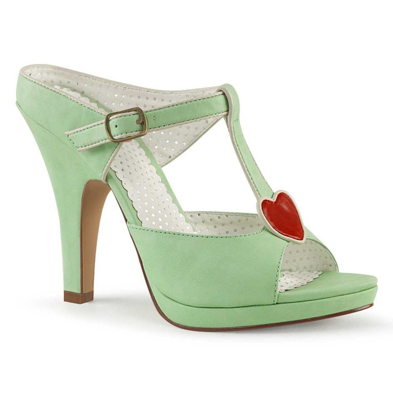 Siren-09, Mint 4 Inch High Heel with T-Strap Heart Accent