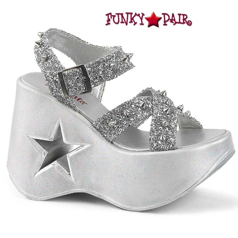 Dynamite-02 Silver Wedge Platform Sandal with Spikes by Demonia