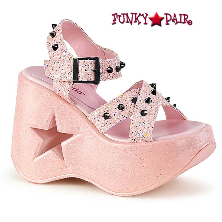 Dynamite-02 Baby Pink Wedge Platform Sandal with Spikes by Demonia