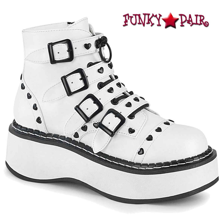 Emily-315, White Buckles Strap Ankle Boots by Demonia