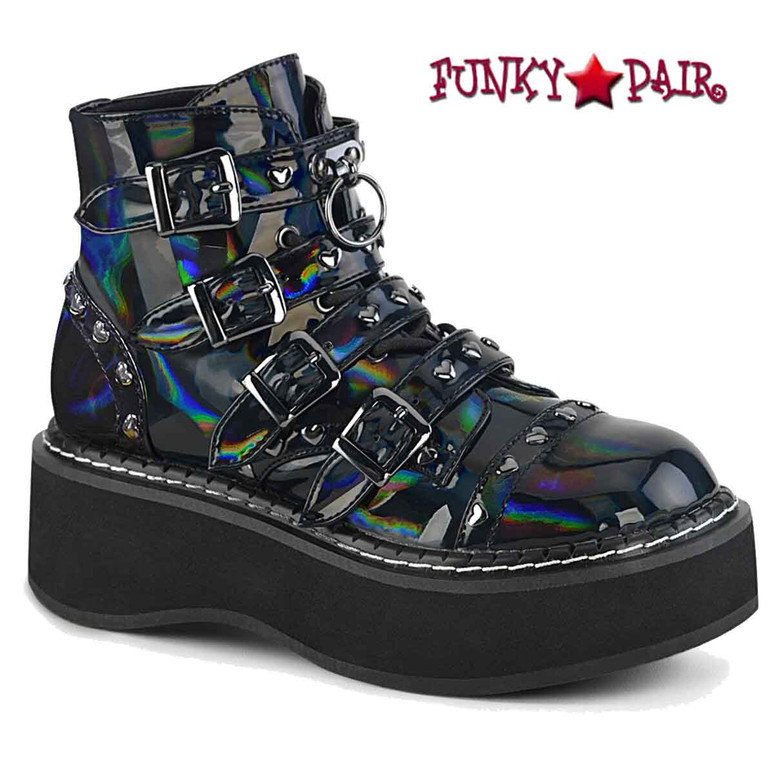 Emily-315, Black Hologram Buckles Strap Ankle Boots by Demonia