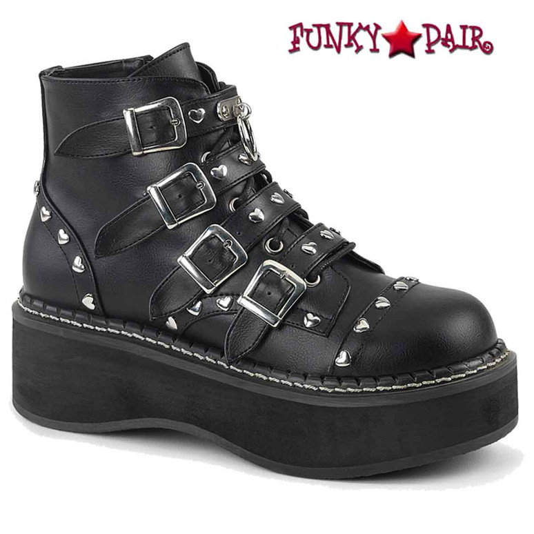 Demonia Emily-315, Black Buckles Strap Ankle Boots