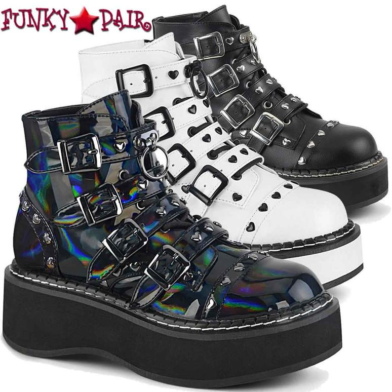 Demonia Emily-315 Buckles Strap Platform Ankle Boots