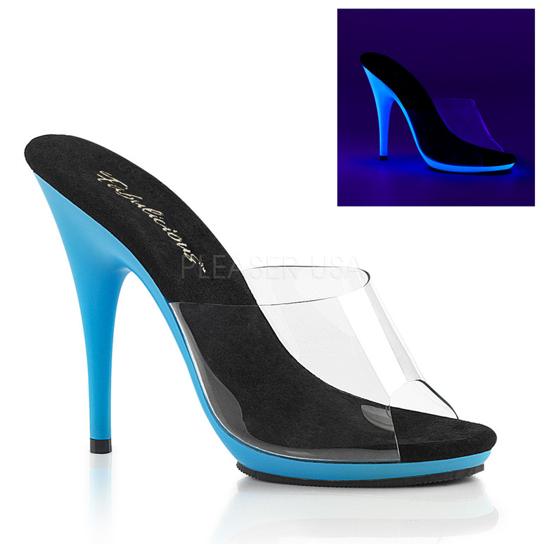 Poise-501UV, Blue 5 Inch Heel Slide with UV Bottom by Fabulicious