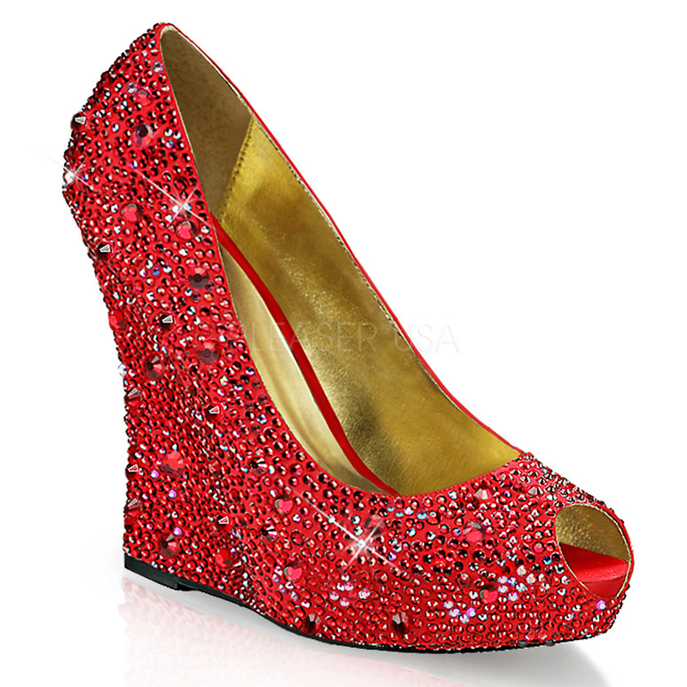 Isabelle-18, 5.25 Inch Wedge Pump with Rhinestones