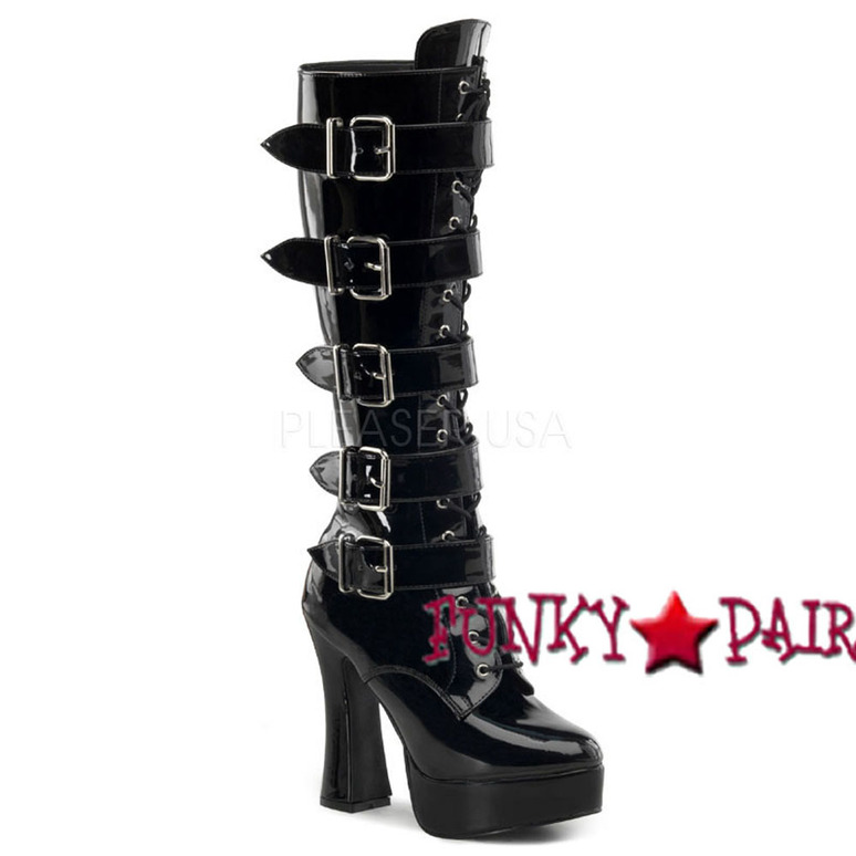 ELECTRA-2042, 5 Inch Strap Buckle Platform Boots color black patent * Made by PLEASER USA