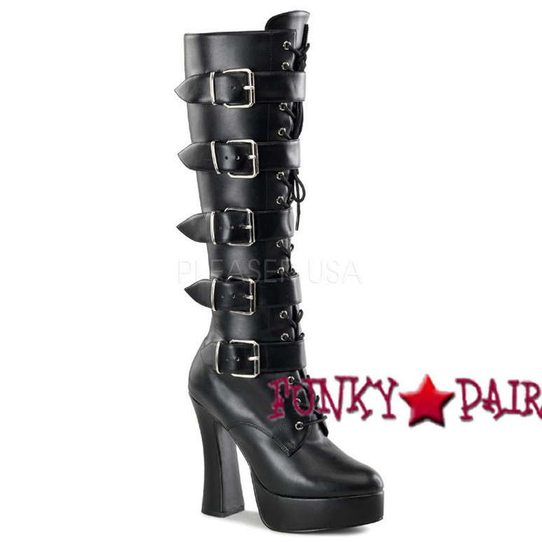 ELECTRA-2042, 5 Inch Strap Buckle Platform Boots  color black faux leather * Made by PLEASER USA