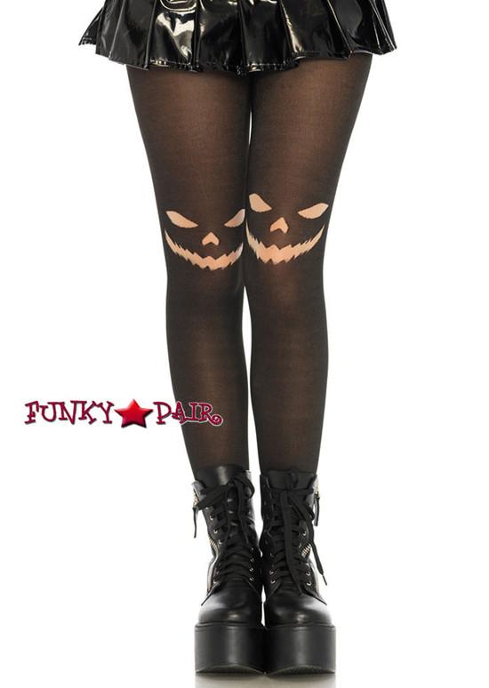 Womens Halloween Black Jack O'Lantern Tights   Leg Avenue LA7740
